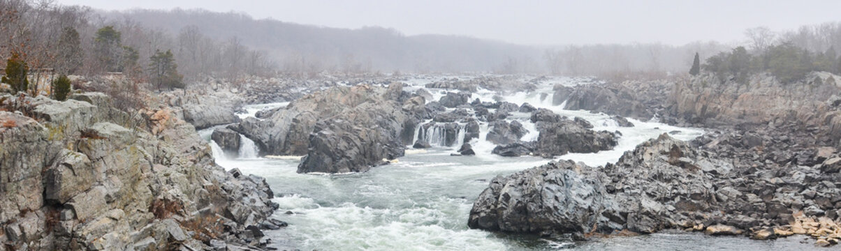 Great Falls Park in a foggy winter day - Virginia, United States of America