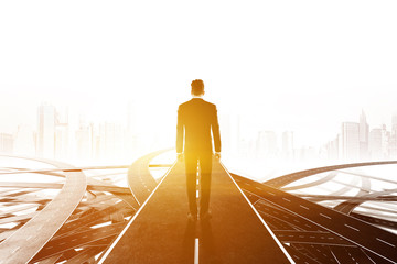 Businessman walking on tangled road, career choice
