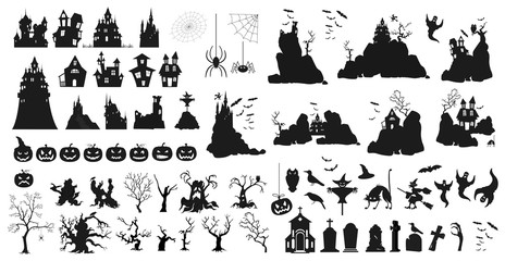 Halloween holiday constructor. Graphic template. Flat icons