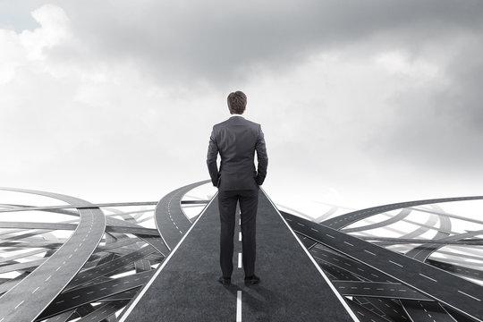 Businessman choosing the right way