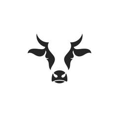 Cow head. Logo. Farm animal on white background