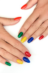 Aluminium Prints Manicure Multicolored bright manicure with different shapes of square, oval, sharp nails on a white background.