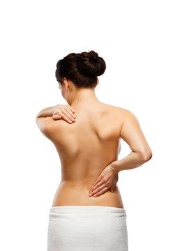 Woman massaging back pain