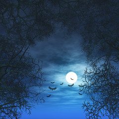 Fototapete - 3D Halloween background with trees against moonlit sky