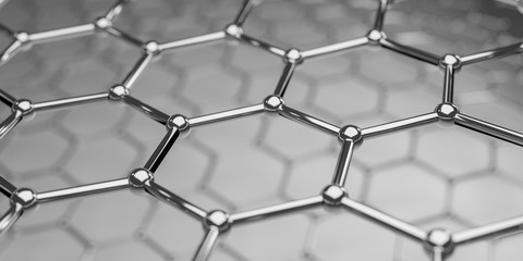Graphene molecular nano technology structure on a background - 3d rendering