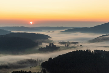 Recess Fitting Gray traffic Amazing landscape of the Black Forest in the morning with fog during sunrise, seen from a hot-air ballon, Hinterzarten, Germany