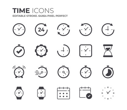 Time and Clock Icons Set. Editable Stroke.