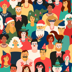Christmas and Happy New Year seamless pattern with people in carnival costumes.