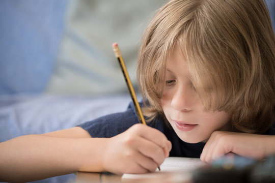 Young boy studying at home