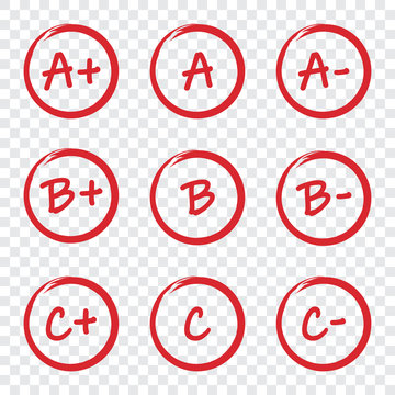 Set of grade result red circles on a transparent background
