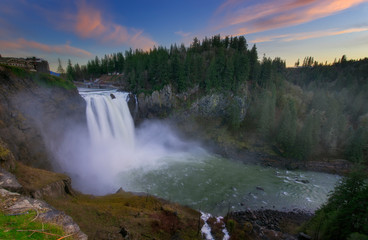 Sunset at the Snoqualmie Waterfalls in Washington