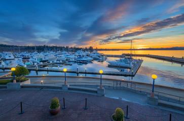 Sunset over Yarrow Bay in Kirkland Washington