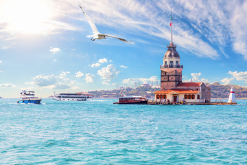 Leander's Tower or the Maiden's Tower in Istanbul, Turkey