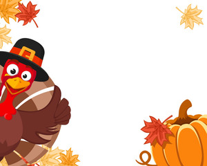 Turkey in a hat peeks out with a pumpkin and autumn leaves, place for text. Blanche Thanksgiving Day