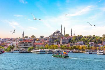 Eminonu Pier and Suleymaniye Mosque in Istanbul, Turkey Wall mural