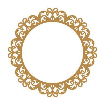 Laser cutting photo frame. Decorative round template for design. Vector geometric vintage metal border. Oriental ornamental lace, golden silhouette. Circular pattern in arabesque style. Napkin stencil