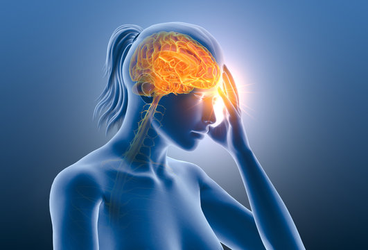 Headache, migraine of a woman, medically 3D illustration on blue background