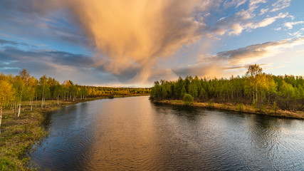 Türaufkleber Forest river Sunset seen when driving on the way to the Luosto, Lapland in Finland