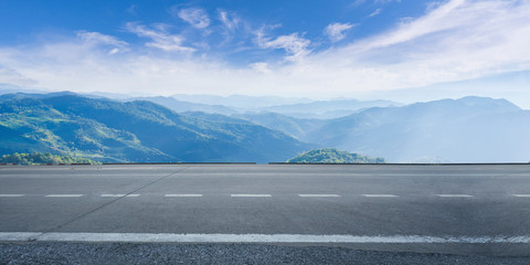 Poster Gray Empty highway asphalt road and beautiful sky mountain landscape