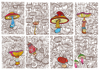 Set of Pictures with Mushrooms. Antistress sketch drawing