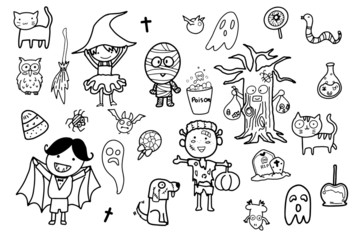 kawaii cute hand draw doodle art in autumn Halloween theme, children happily dressing in ghost costume