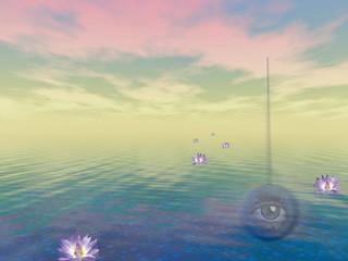 Zen ocean. Lotus flowers on water surface