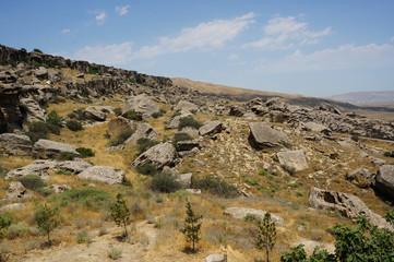Wall Murals Texas boulders in the desert landscape of Gobustan national Park in Azerbaijan