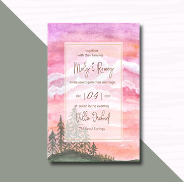 Wedding invitation with pines landscape watercolor