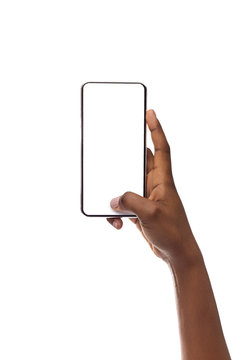 Mockup Image Of Smartphone With Blank Screen In Woman's Hand