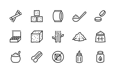 Sugar line icon. Sweeteners products, sugar cane cube bag and packages, stevia and cane organic sugar pictograms. Vector design outline healthy food set