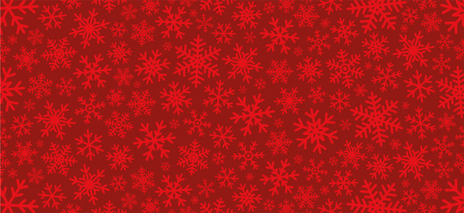 Red christmas background with snowflakes. Vector