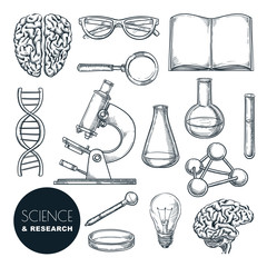 Science lab and chemistry research sketch vector illustration. Isolated hand drawn education icons set