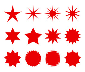 a set of fashionable forms of retro stars. design elements Sunburst. . Red beams firework.