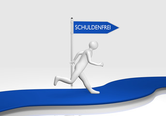 3d Männchen folgt einem Schild auf dem Schuldenfrei in deutschem Text steht.