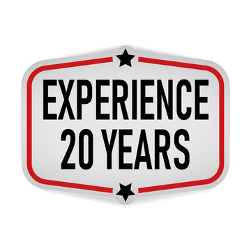 20 YEARS EXPERIENCEOval sticker paper label vector o a white background