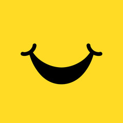 World Smile Day, smiling icon, label, sign, logo on yellow background - stock vector