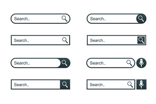 Set search bar web page internet browser button, search box template isolated – stock vector