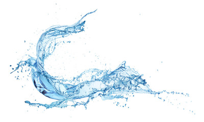 blue water splash isolated on white background Wall mural