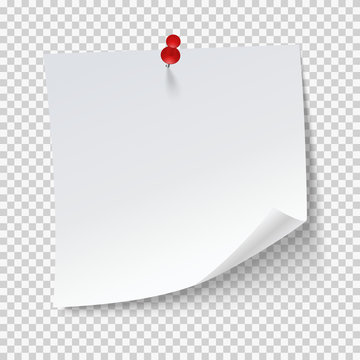 Blank note papers, pinned with a push pin on transparent background. Empty white page.