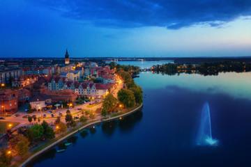 Elk Lake in the evening. Aerial view. Masuria, Poland.