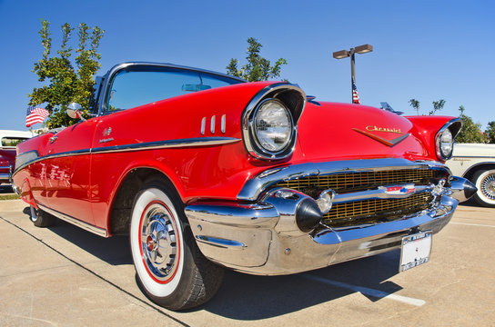 Front view of a red vintage 1957 Chevrolet Bel Air classic car on October 27, 2012 in Westlake, Texas.