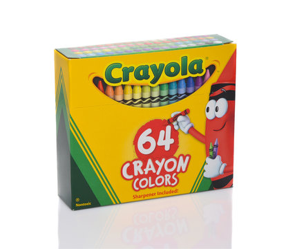 IRVINE, CALIFORNIA - 28 SEPT 2019: A 64 Count box of Crayola crayons.