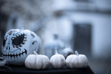 Pumpkins on background of painted pumpkin for day of dead and Halloween. Autumn background