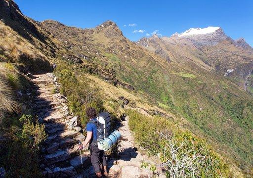 Inca trail, view from Choquequirao trekking trail