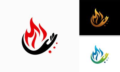 Hand With Fire Logo Design, hand and Fire logo designs symbol, Fire Care symbol