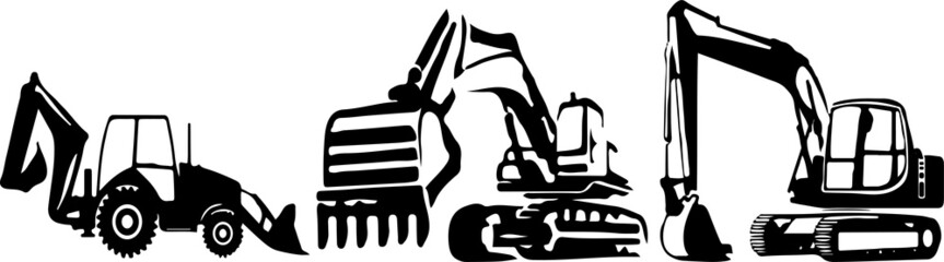 Excavator vector on color background
