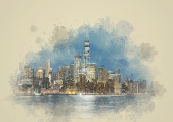Fototapete - Digital Watercolor Panorama New york cityscape river side, USA, Architecture and building with tourist, illustration and art concept