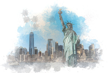 Wall Mural - Digital Watercolor The Statue of Liberty over the Scene of New York cityscape river side which location is lower manhattan,Architecture and building with tourist, illustration and art concept
