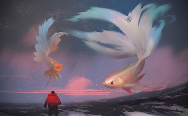 Digital illustration painting design style a man standing on the snow mountain, against giant Betta fishes flying in the sunset sky.
