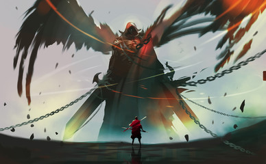 Digital illustration painting design style a knight against dark angel ready to fighting.